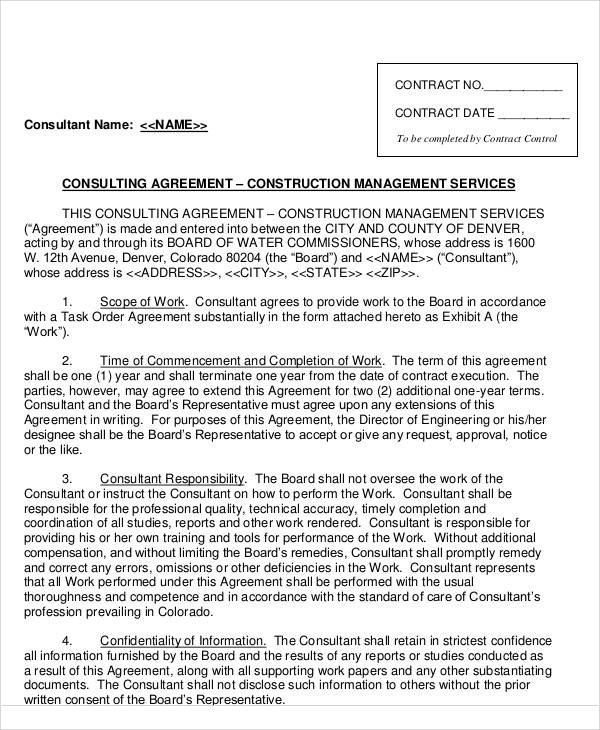 construction consulting agreement sample