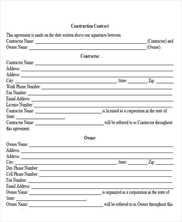construction contract agreement form1
