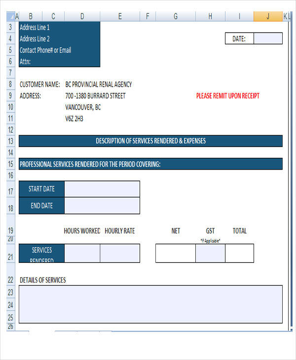 construction invoice format
