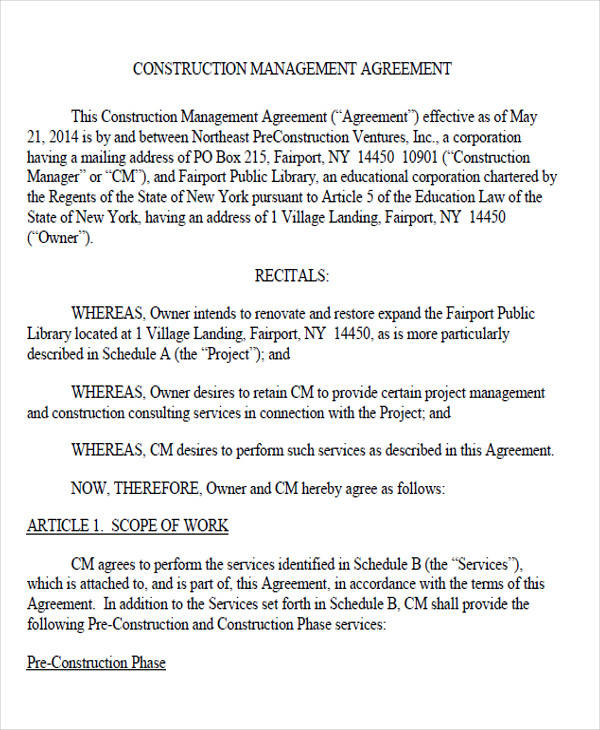 Amazing Construction Management Agreement Ideas  Best Resume