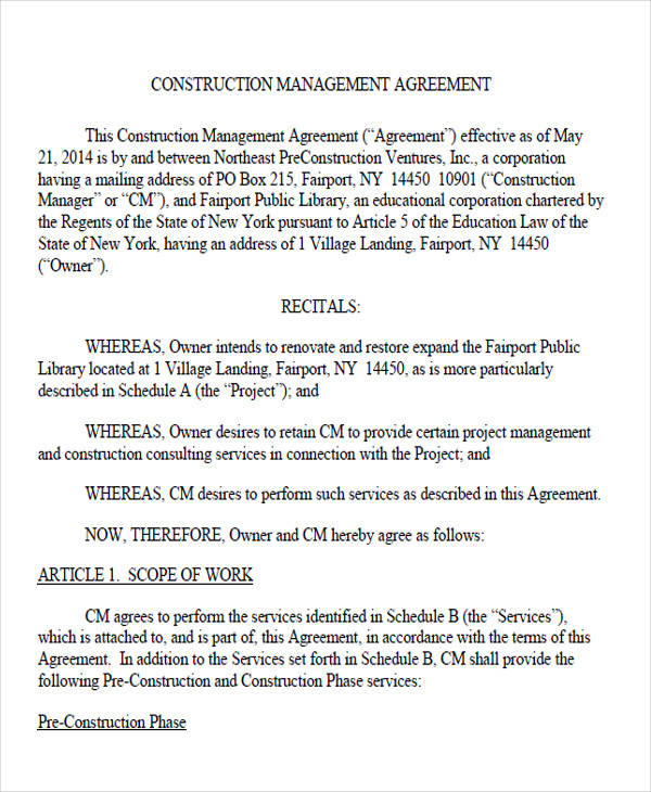 construction management agreement form2