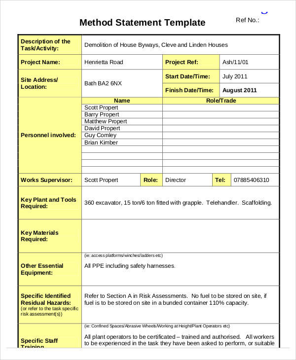 construction method statement form
