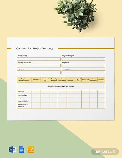 construction project tracking template