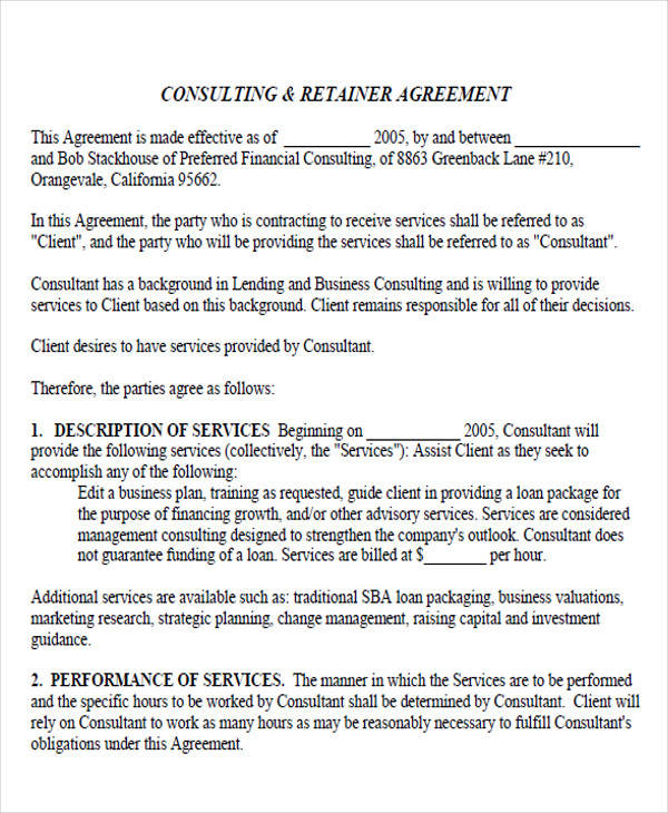 retainer agreement template uk - 44 printable agreement forms sample templates