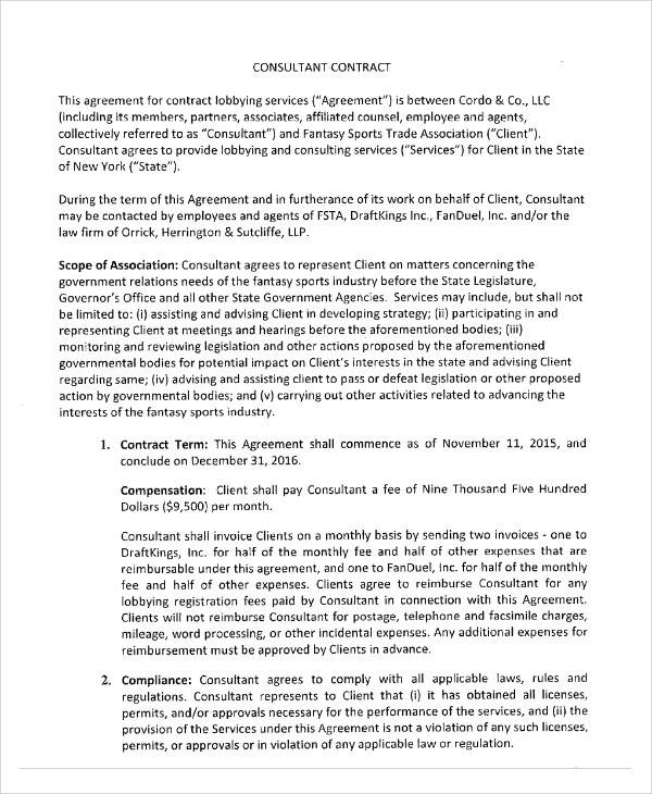 consulting contractor agreement example