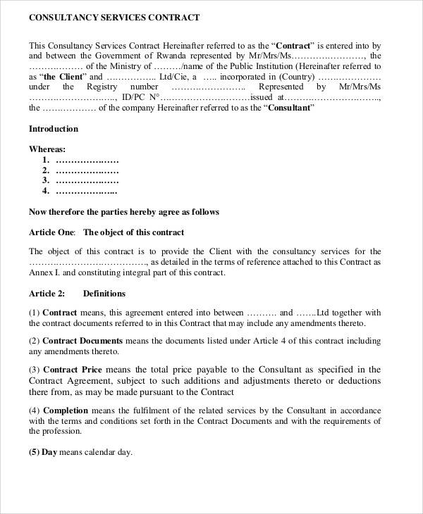consulting services contract agreement form