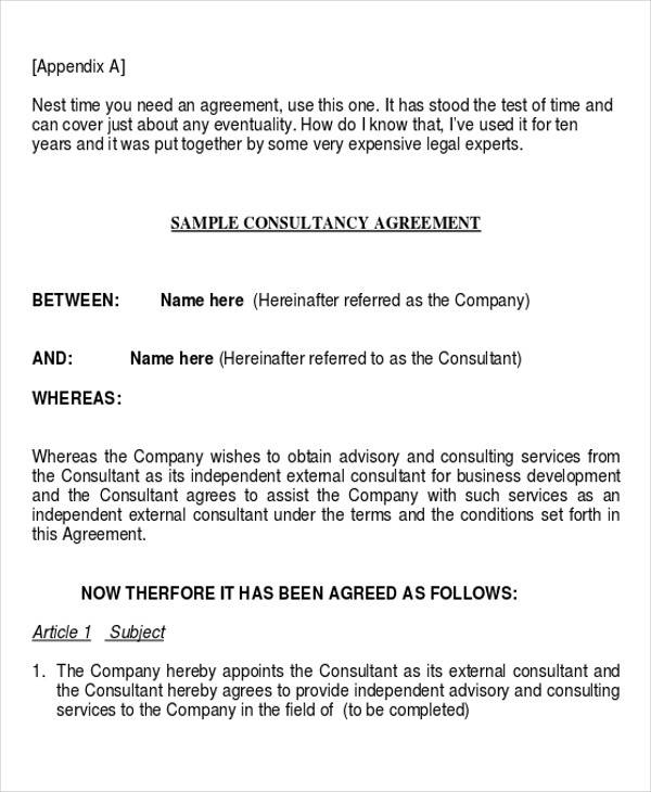 consulting services contract agreement
