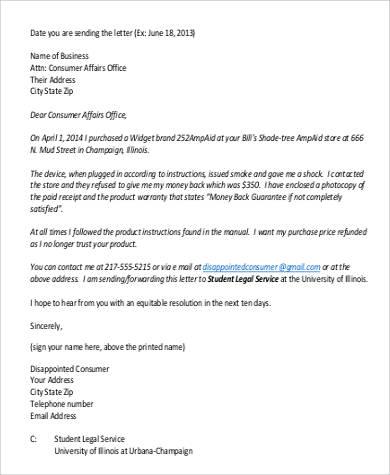 consumer affairs complaint letter1