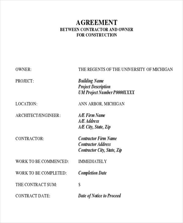 28 Construction Agreement Forms Templates Word Pdf Pages