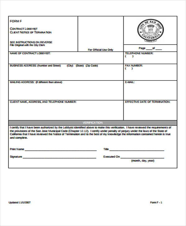 contract termination notice form