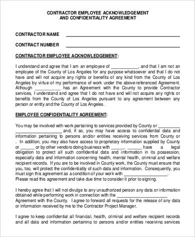 Contractor Acknowledgement And Confidentiality Agreement