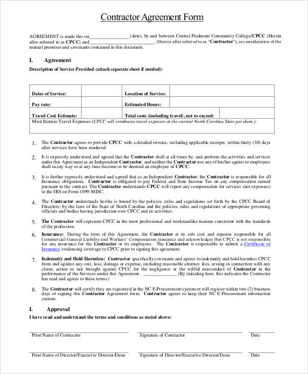 Contractor Agreement Form In PDF