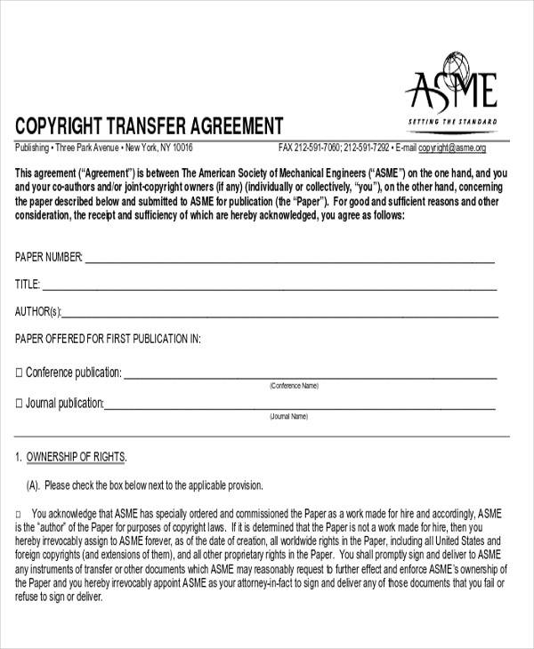 70 agreement examples sample templates for Copyright contract template free