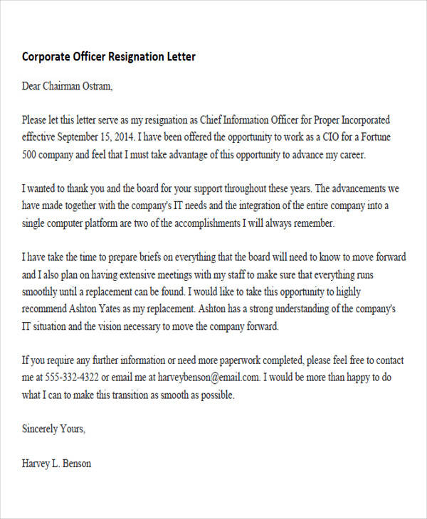 corporate officer resignation letter