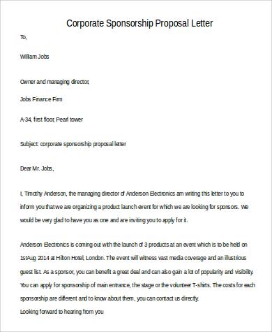 corporate sponsorship proposal letter