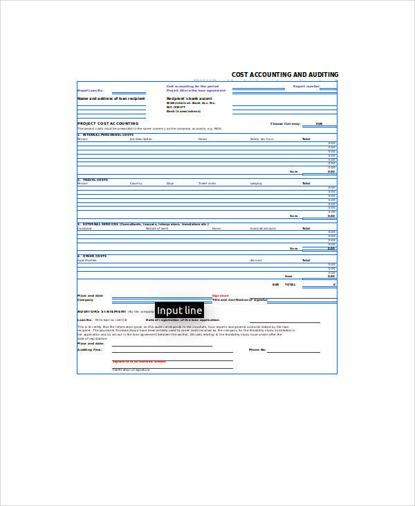 cost accounting form in xls