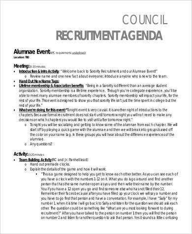 council recruitment agenda