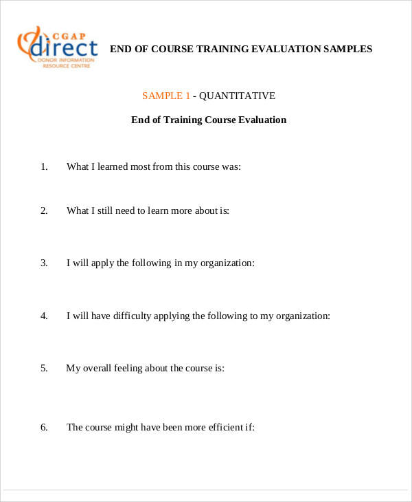 Evaluation Form Example – Sample Course Evaluation Form