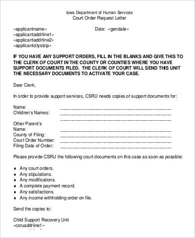Sample request letter court order request letter spiritdancerdesigns Gallery