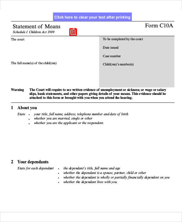court statement of means form