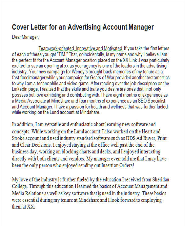 Cover Letter Advertising Account Manager