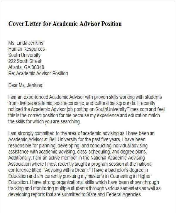 Sample Academic Advisor Cover Letter  Free Sample Example