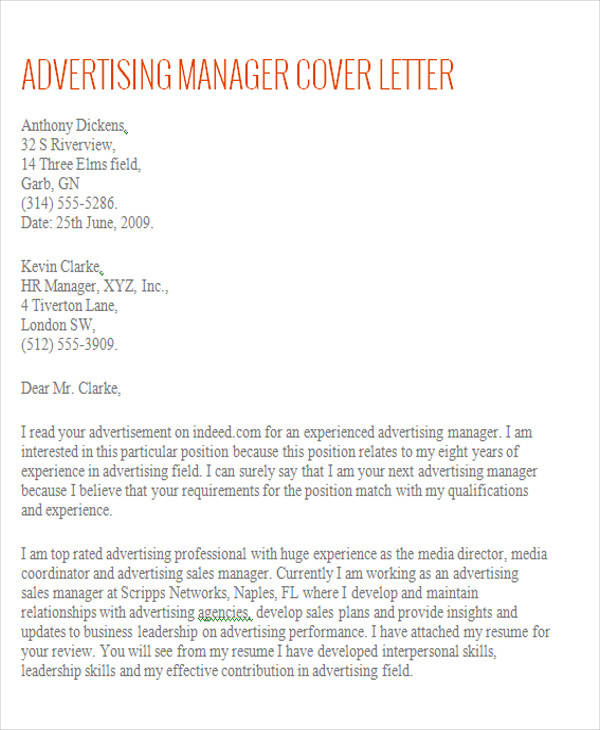 free 8  account manager cover letter templates in ms word