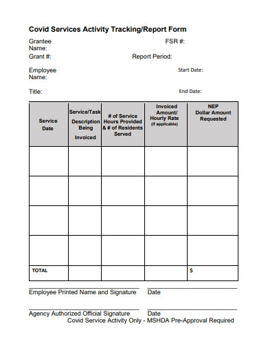 covid services activity tracking form