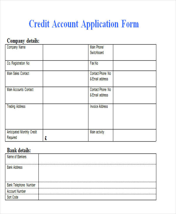 credit account application form3