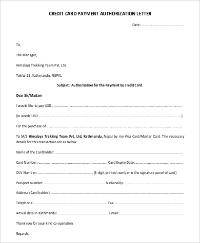 credit card payment authorization letter