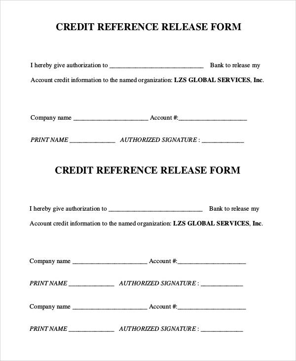 credit reference release form