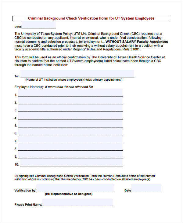 Verification Form – Prior Employment Verification Form