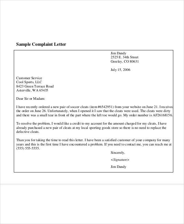 customer complaint letter sample