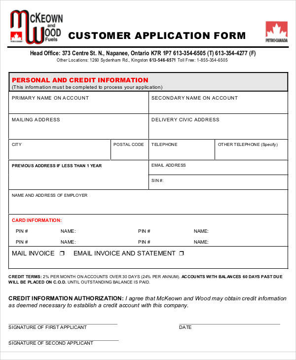 Application Form Formats
