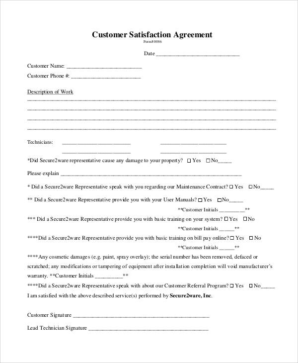 customer satisfaction agreement form