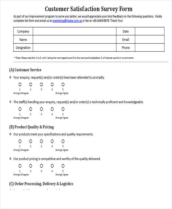 Printable Survey Forms 42 Examples in PDF Word – Blank Survey Template