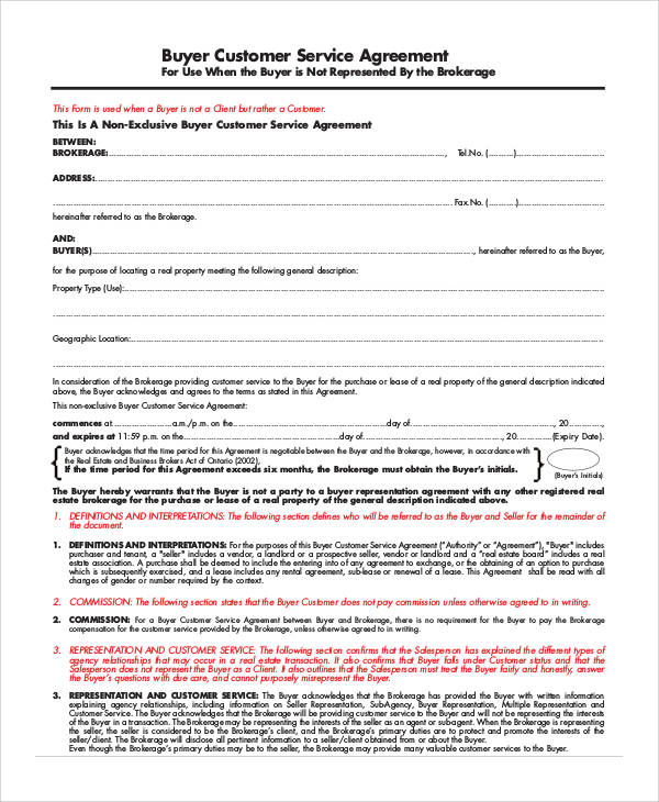 customer service agreement form