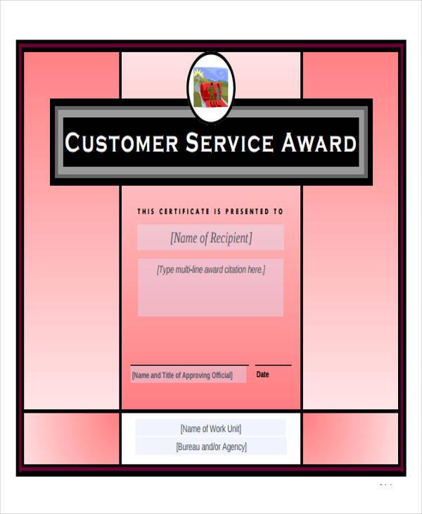 customer service award certificate