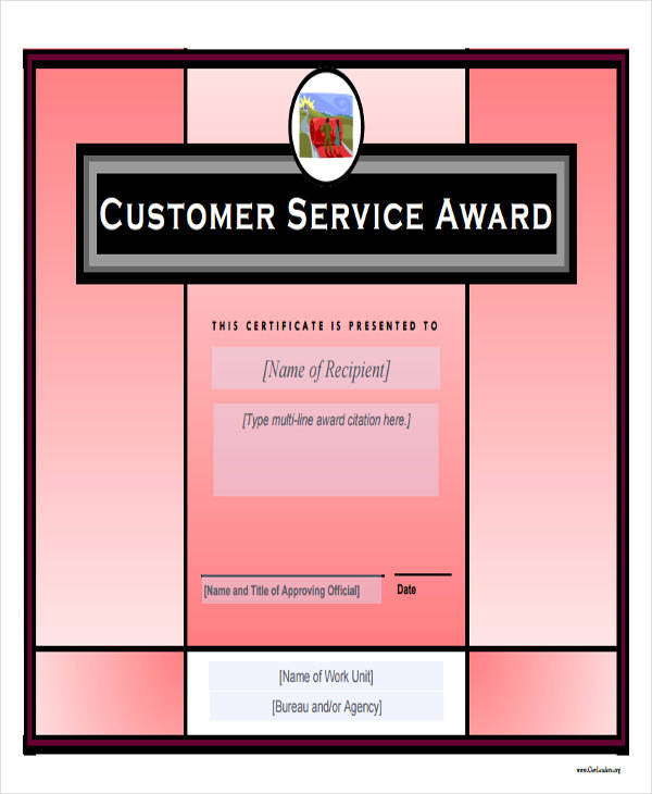 customer service award certificate1