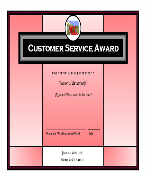 customer service award certificate2