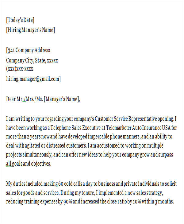 customer service letter templates