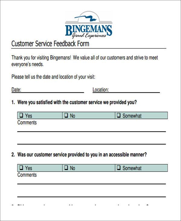 customer service feedback form