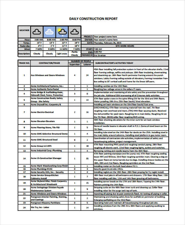 Sample Construction Report  Free Sample Example Format Download