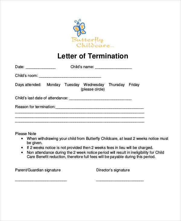 sample letter to withdraw child from daycare