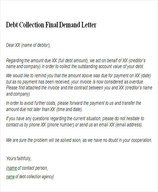 debt collection final demand letter