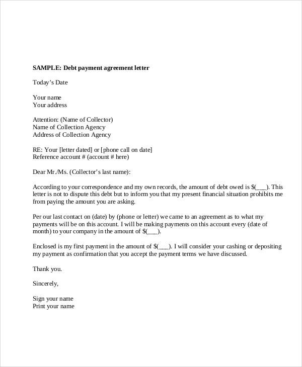 debt payment agreement letter1