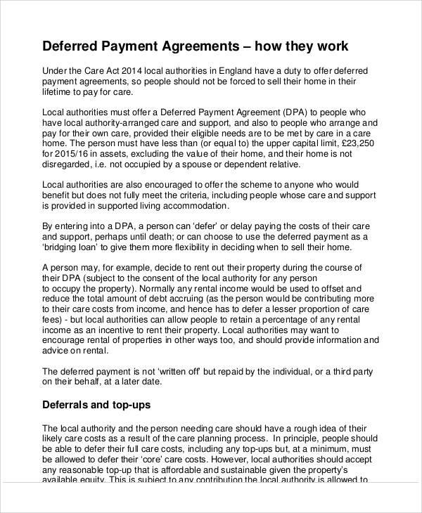 Printable agreement samples deferred payment agreement platinumwayz
