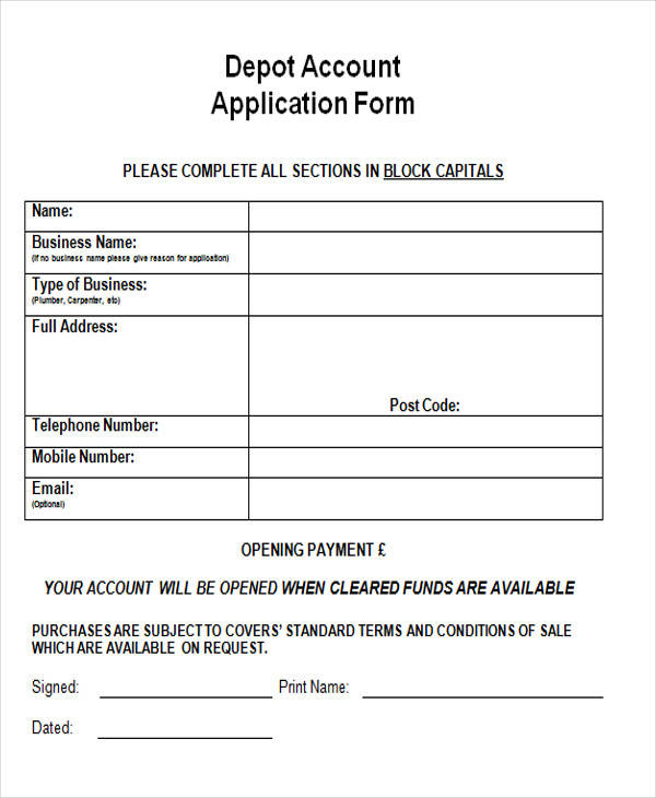 depot account application form