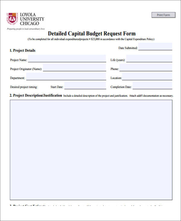 Nice Detail Capital Budget Request Form