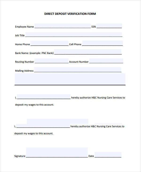 direct deposit verification form